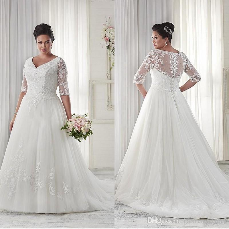 modest-plus-size-wedding-dresses-sleeves.jpg (800×800) | Wedding ...