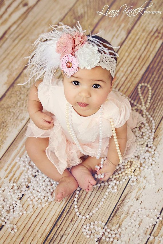 Lace Feather Flower Pink White Baby Girls Headband Ooolala Mauve Vintage  Shabby Chic Photography Prop Boutique 81efb4c79fc