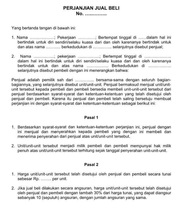 Contoh Surat Perjanjian Jual Beli Resmi Baik Dan Benar