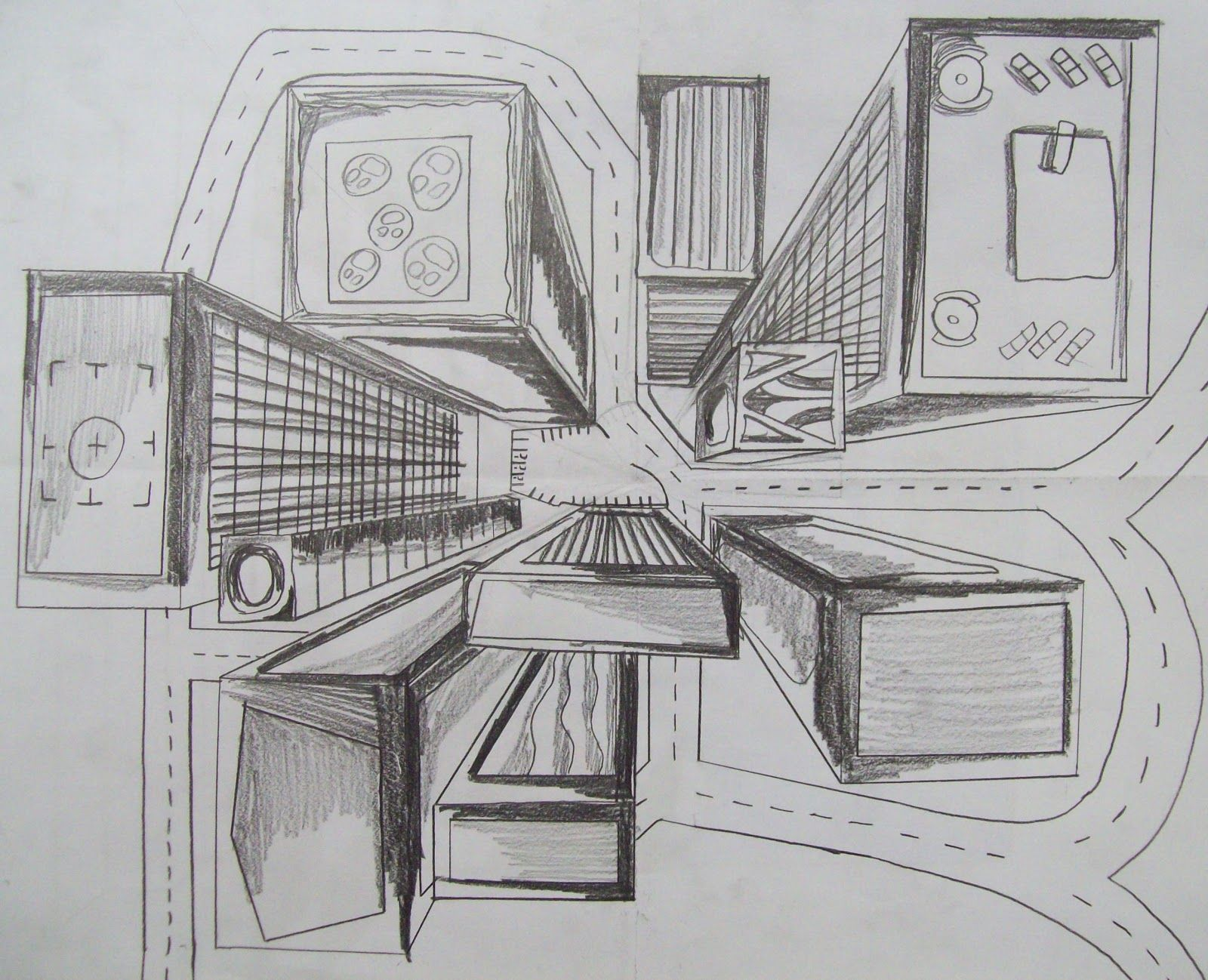 Dessin Immeuble En Perspective Multi Point Perspective 7th Grade Bird S Eye View One