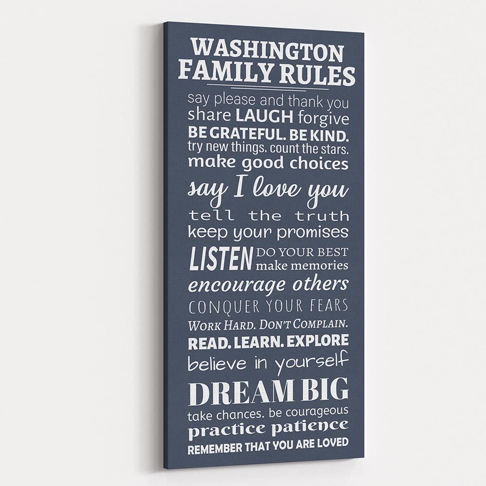 Family Rules Canvas Wall Art Say Please And Thank You 365canvas Family Rules Personalized Family Gifts Custom Family Gift