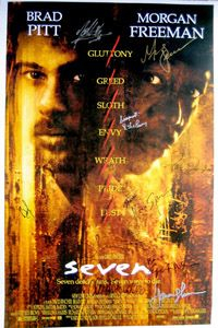 SEVEN movie poster signed Brad Pitt, Morgan Freeman, Gwyneth Paltrow, Kevin Spacey, Charles S. Dutton, John C. McGinley, R. Lee Ermey, Richard Roundtree, Howard Shore & David Fincher.