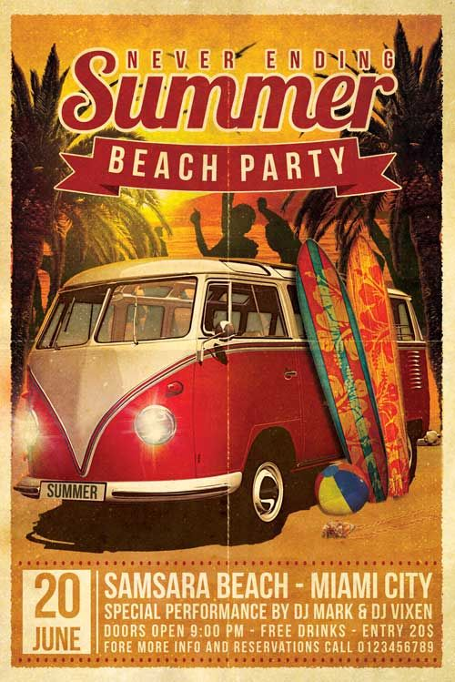 Beach Party Flyer -    xtremeflyers beach-party-flyer - beach party flyer template
