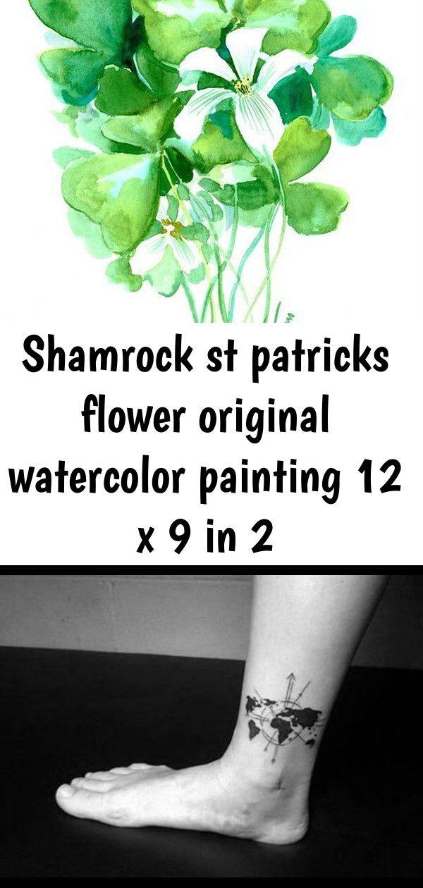 Photo of Shamrock st patricks fleur aquarelle originale peinture 12 x 9 en 2