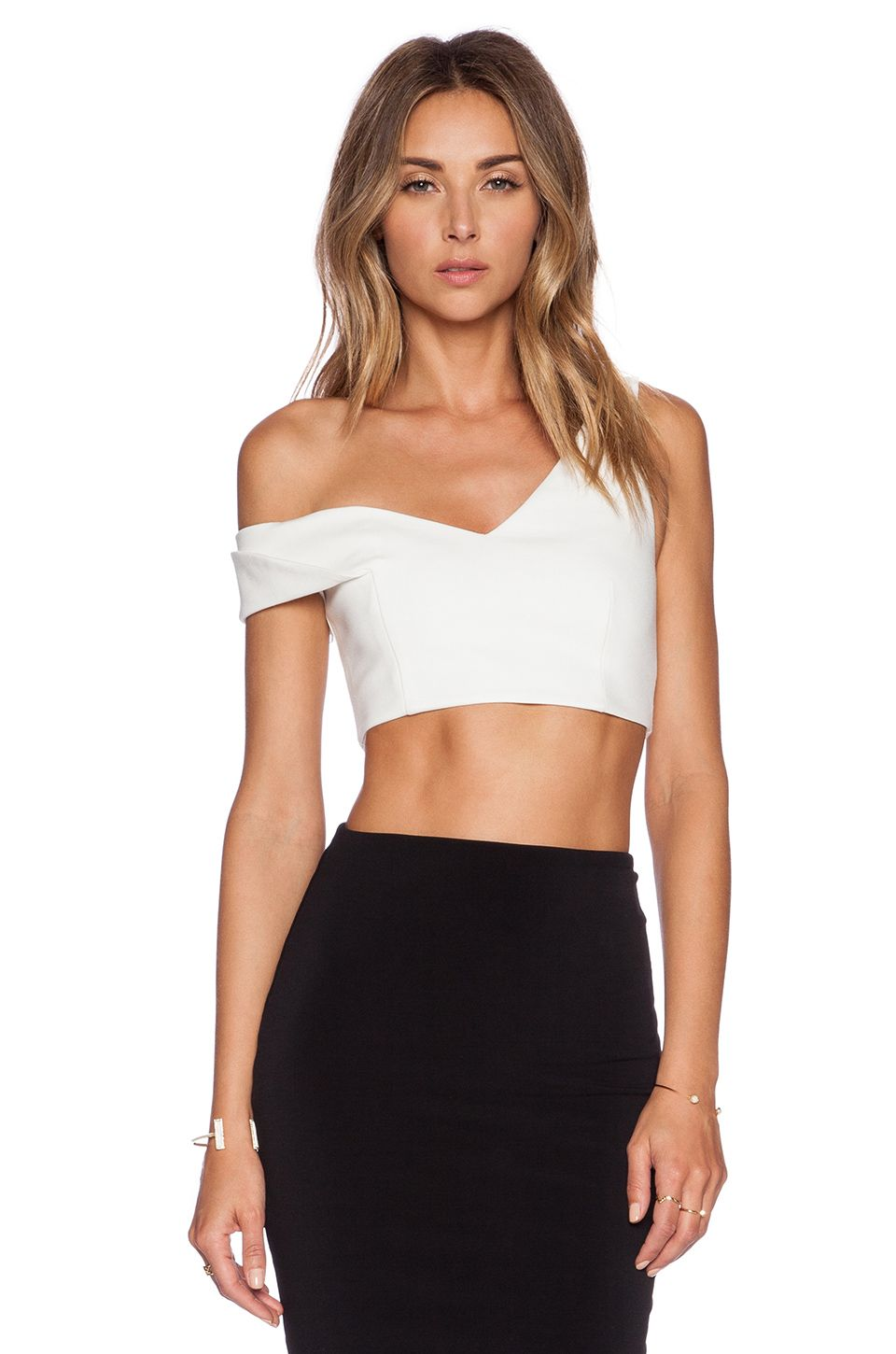 c00f05b38fa4b0 NICHOLAS One Shoulder Crop Top in White | Cropped Tops/Bustier ...