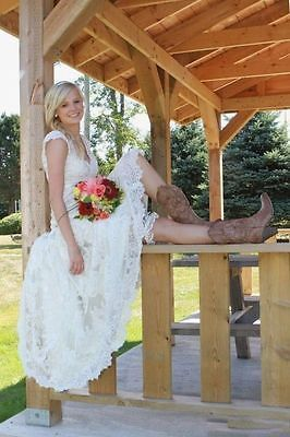 High Low Country Style Lace Wedding Dresses V Neck Cap Short