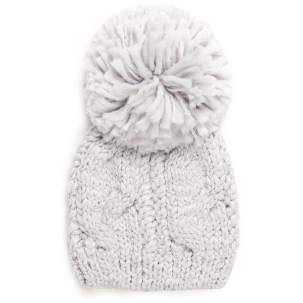 1d1e3f86801 New Directions Morning Fog Pom Pom Cable Beanie ( 20) ❤ liked on Polyvore  featuring accessories