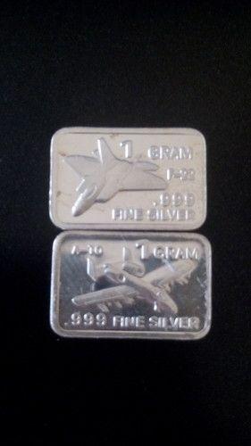 2x 1 Gram 999 Fine Silver Bullion Bars Fighter Jets Tophatter