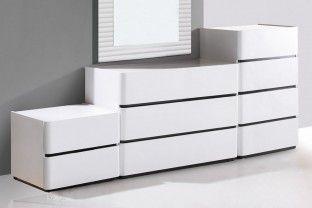 Strassen 2 Drawer White Gloss Side Cabinet White Gloss Furniture