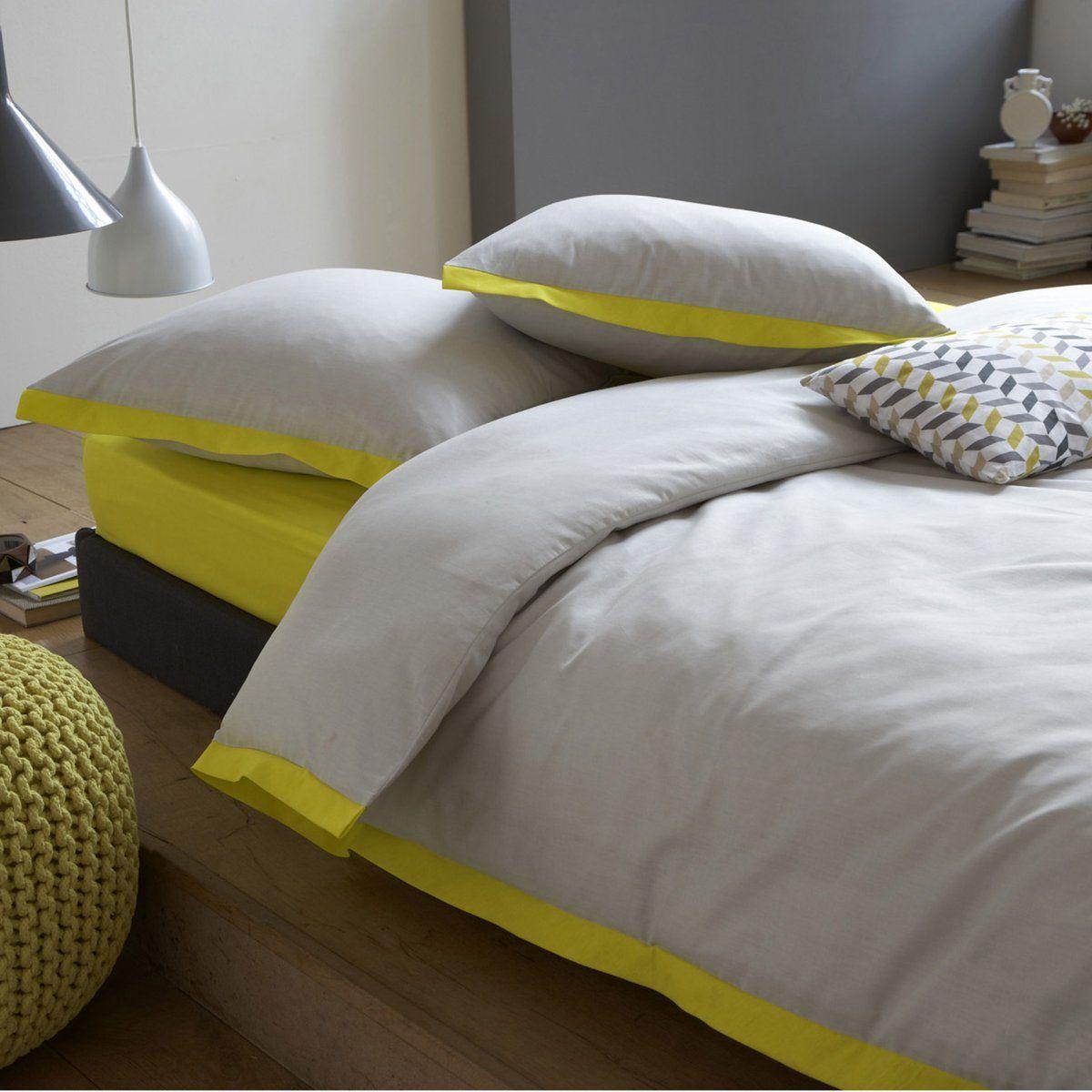 parure housse de couette taie drap housse epure gris jaune la redoute maison de r ve. Black Bedroom Furniture Sets. Home Design Ideas