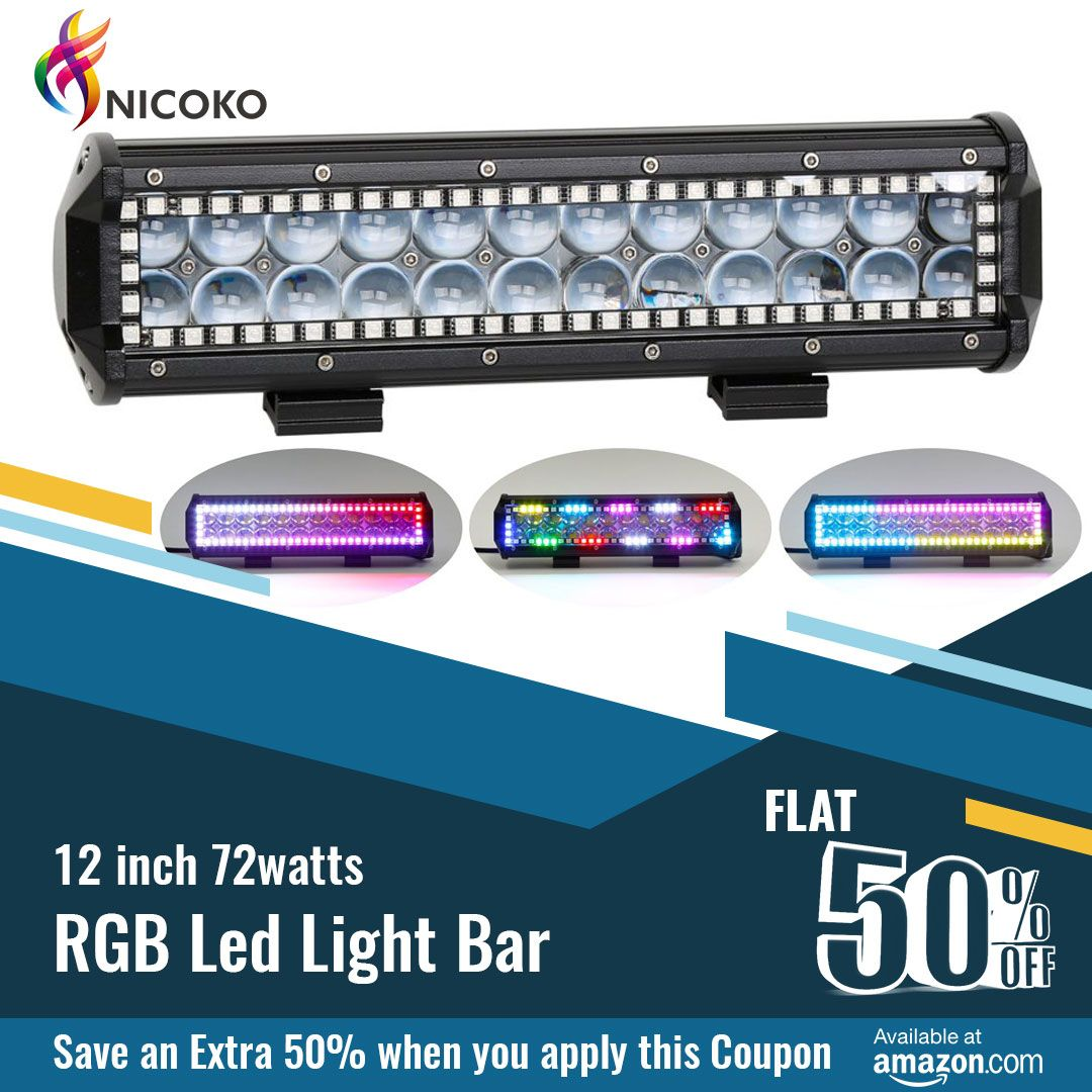 Great Deal Today Now 50 Off Nicoko 12inch 72watts Rgb Led Light Bar Go Enter Https Www Amazon Rgb Led Lights Led Light Bars Led Driving Lights