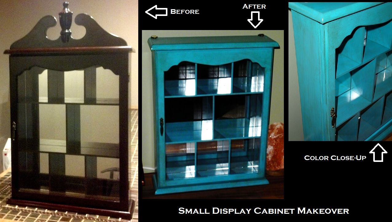"Small display cabinet picked up for cheap at a flea market (with trinkets inside, some of which I kept, the others went to eBay). From too-fancy cherry wood finish to beachy, antiqued turquoise with Valspar ""Exotic Sea"" spray paint and Minwax ""Early American"" stain."