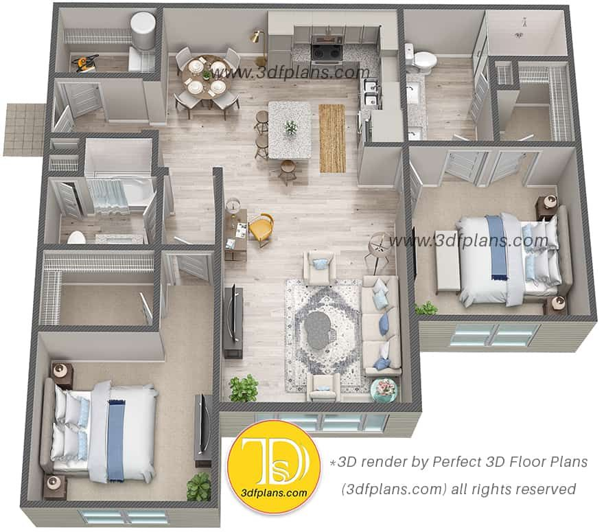 3d Floor Plans Of Luxury Apartments In St Johns Florida 3d Floor Plans In 2020 Floor Plans 2bhk House Plan Apartment Layout