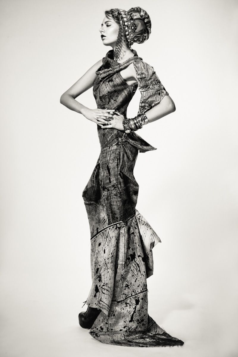 "recycled denim jeans upcycle trashion eco fashion editorial finnish design ekodesign scarf diy tribal  ""DENIM INDIA"" Photography / kuvat: Pauli Siuruainen Styling / staili: Outi Les Pyy Clothes: OutsaPop Trashion, Paula Vasara / Remake Ekodesign, Fida Lähetystorit Makeup / meikki: Senay Coco Hairstylist / Hiukset: Demi Ramadani (Luomus) & Eetu Heinonen Models / mallit: Sani & Emilia (Brand model mgmt)"