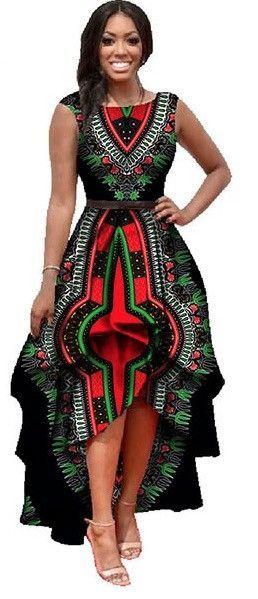 Dashiki Ankara Dress Cascading Ruffles