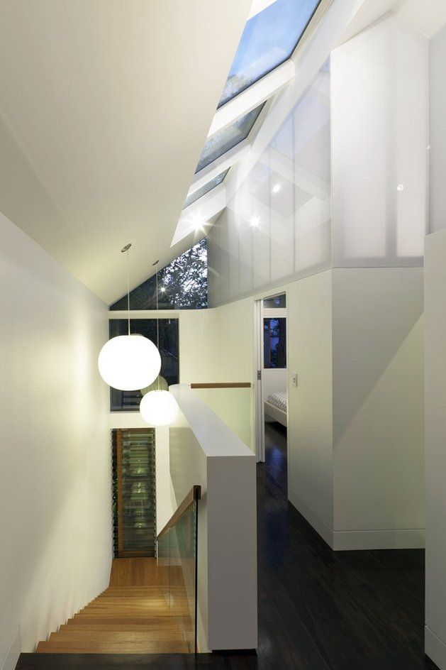 familiar touches modern design sydney home 17 upper landingjpg Pivot Windows Bring Air and Unique