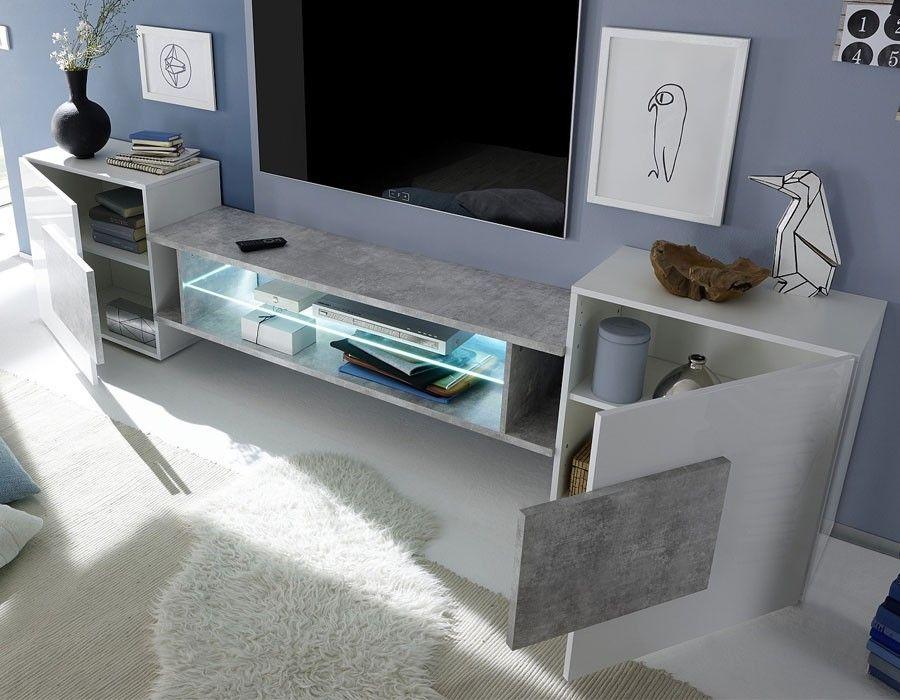 Meuble Tele Moderne Blanc Laque Et Bois Hcommehome Meuble Tv