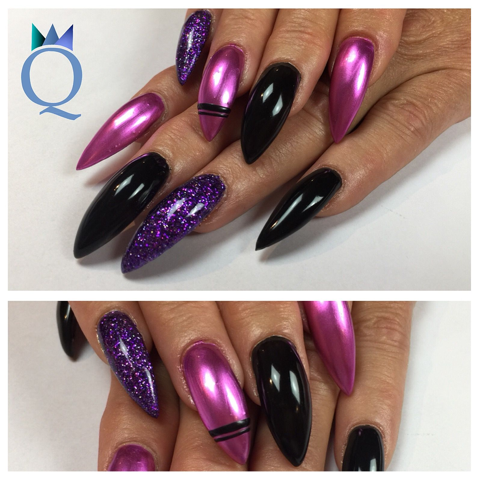 stilettonails #gelnails #nails #purple #glitter #black #pink ...