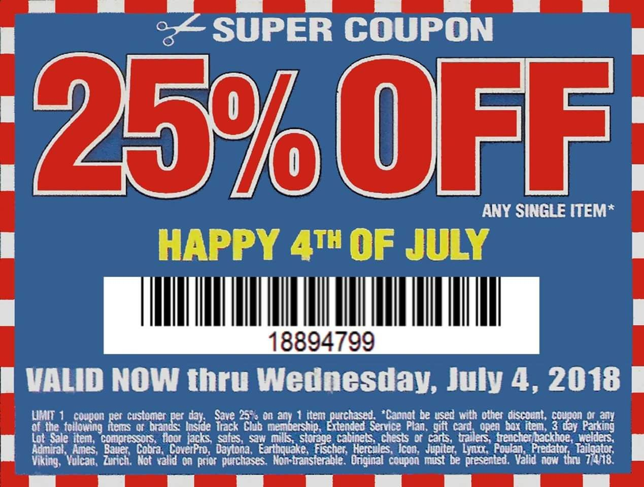 Harbor Freight 25 Percent Off Coupon Harbor Freight Tools Coupons Happy 4 Of July