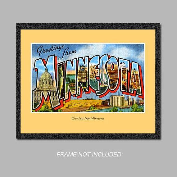 Postcard Wall Art - Greetings from Minnesota - 8x10 Poster Print ...