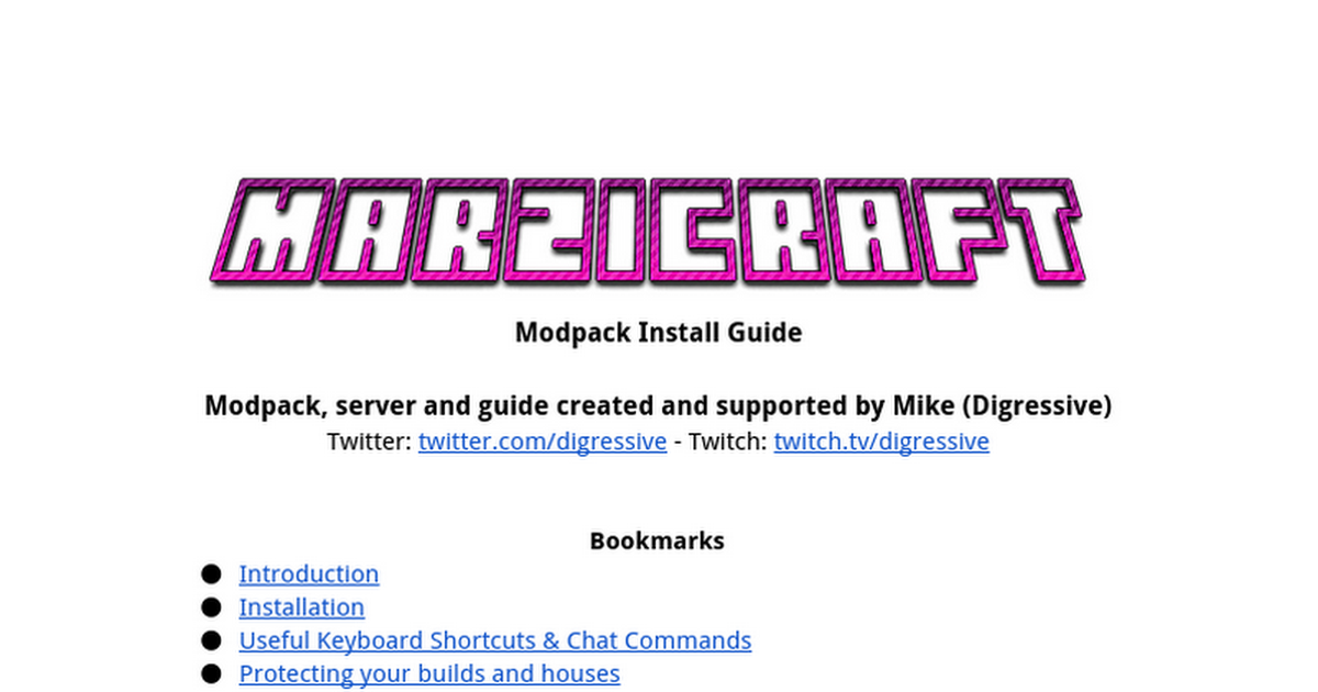 Modpack Install Guide Modpack, server and guide created and