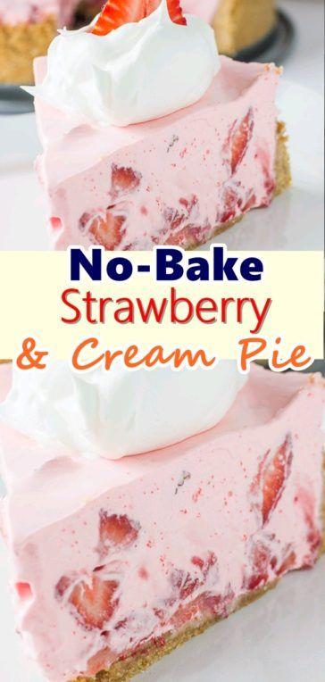 NoBake Strawberry & Cream Pie   Weight Watchers Recipes is part of Strawberry cream pies -