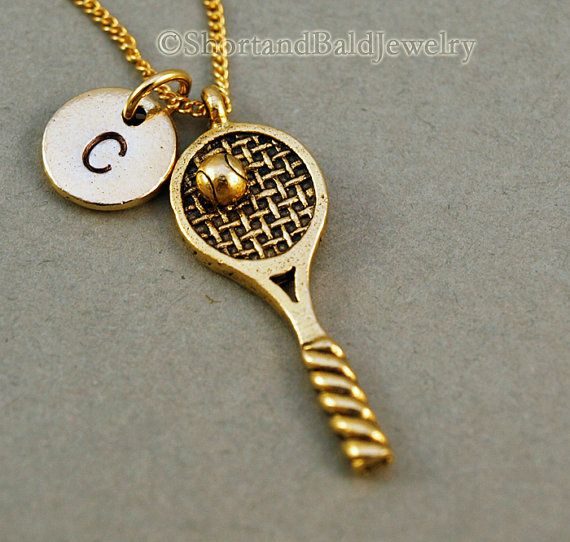 Tennis necklace tennis racket necklace tennis ball tennis racquet tennis racket charm in antique gold pewter approx 1 18 x 38 lead free pewter charm made in usa hand stamped initial charm antique gold pewter aloadofball Choice Image