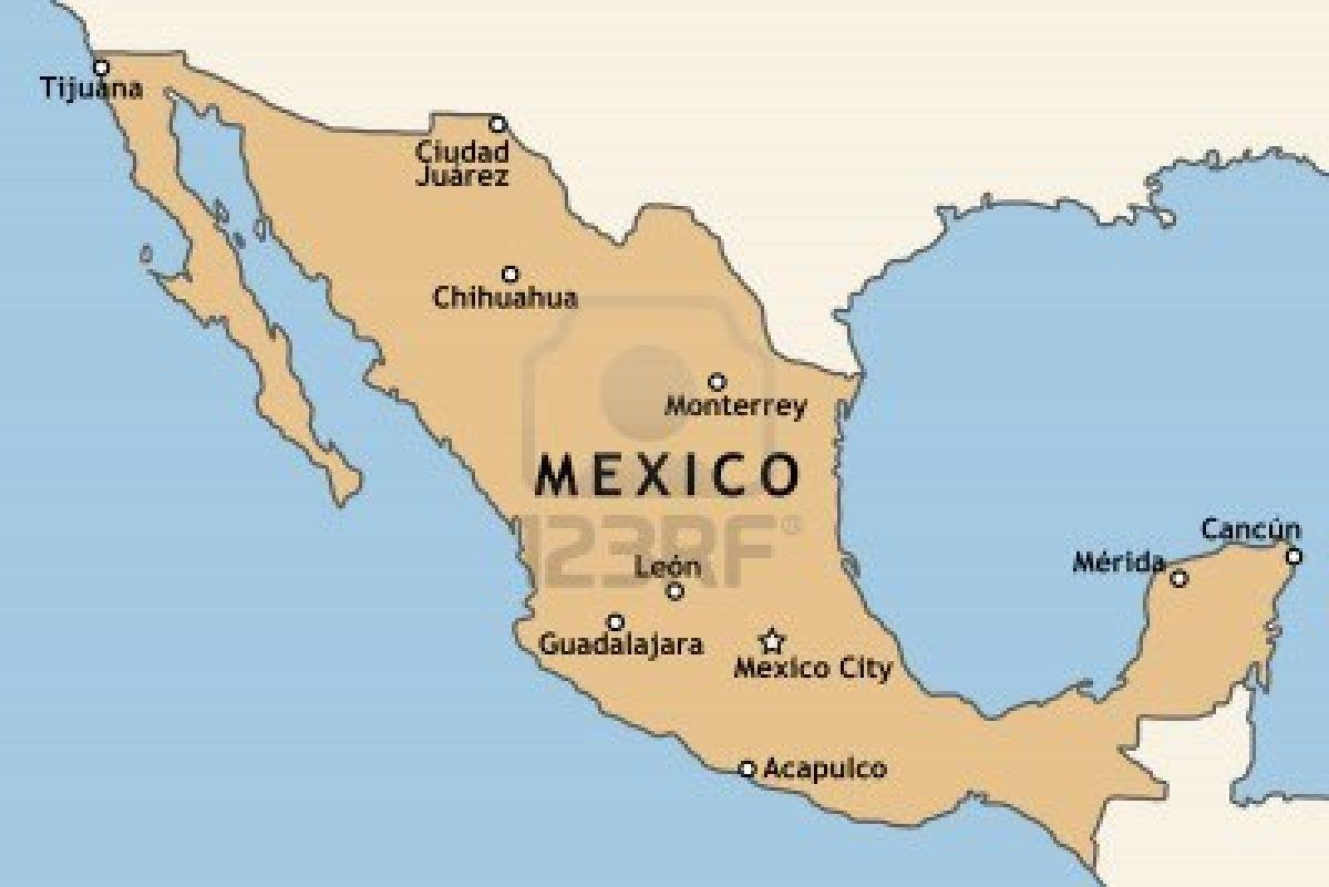 Mexico map with major mexican cities mexico city for Vacation in mexico city