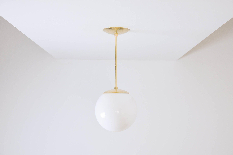 Globe Pendant Light - Raw Brass - Mid Century Modern ...