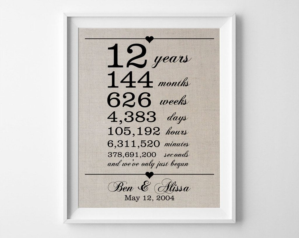 Gift For 13th Wedding Anniversary: 12 Years Together Linen Anniversary Print By