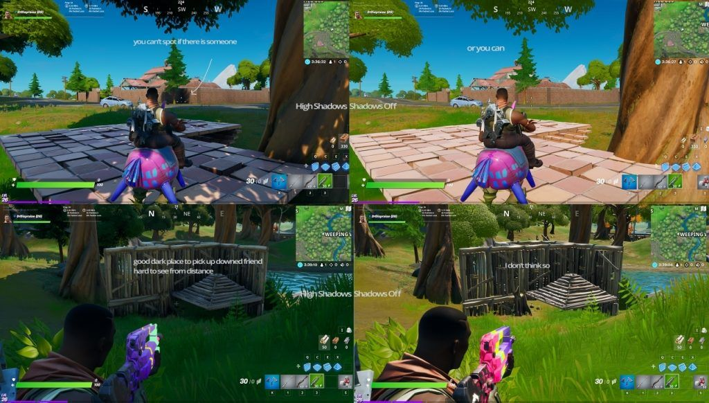 Evidence Shows Fortnite Players Using Shadows Are At A Huge Disadvantage Picking Out A Player In Fortnite Can Be Diff Fortnite Falling Back In Love Pc Console