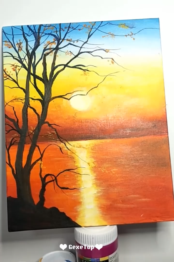 10 Awesome Acrylic Painting For Home Decor Tutorial Videos Part 9 Video Sunset Canvas Diy Art Creative