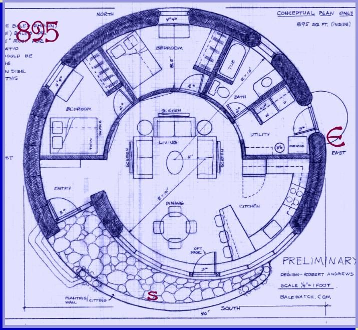 Straw Bale House Plan 895 Sq Ft Spiral Straw Bale House House Plans How To Plan