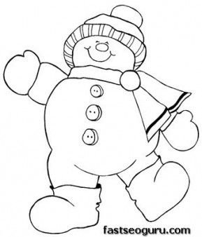 Christmas Happy Snowman Print out this free coloring page