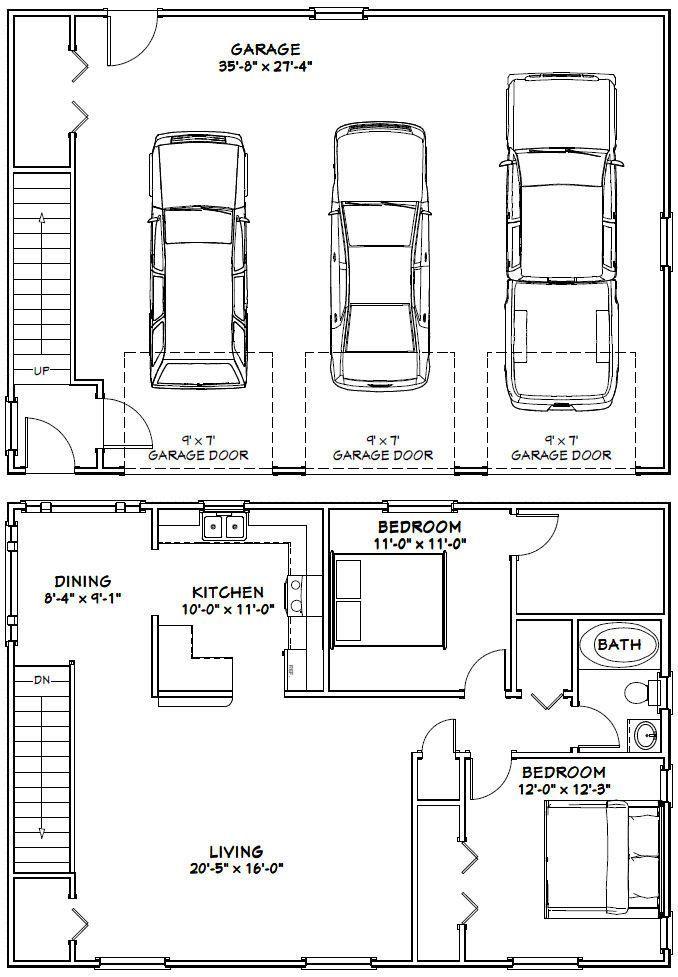 40x28 3 Car Garages 1136 Sq Ft Pdf Floor By Excellentfloorplans Garage Floor Plans Garage House Plans Carriage House Plans