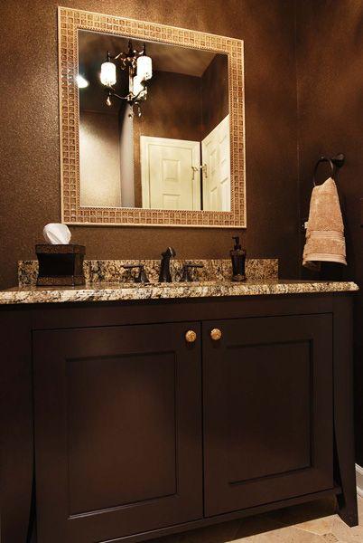 Bathroom Mirror Java riverwoods powder room cherry java cabinety sonoma tantrum mirror