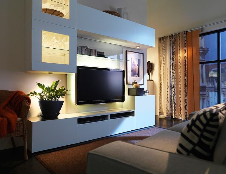 Wohnwand Besta Mit Led Spots Bild 4 Wohnen Wohnung Wohnzimmer Wohnung Einrichten