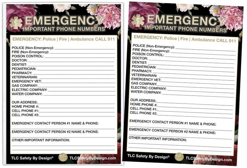 EMERGENCY CONTACT CARDS Sleeve Home Alone 5.5 x 7