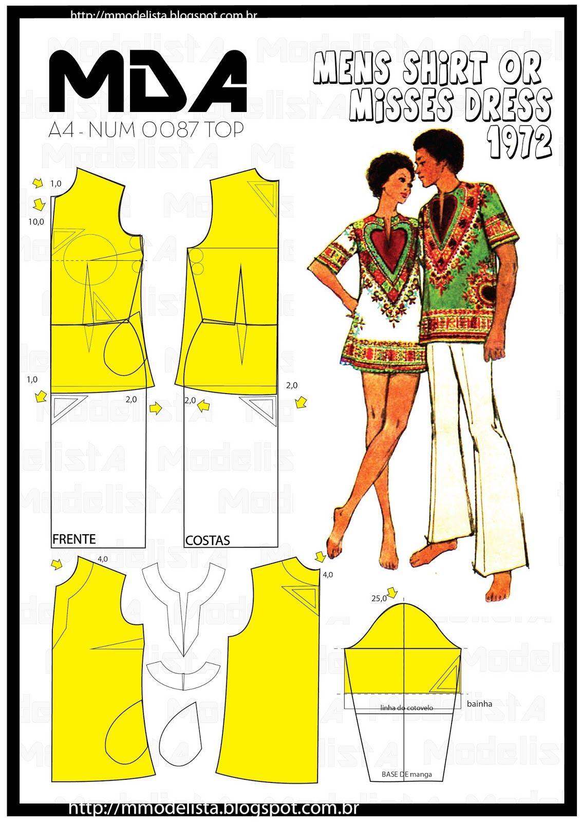 A4 NUM 0087 TOP | Costura, Molde y Patrones