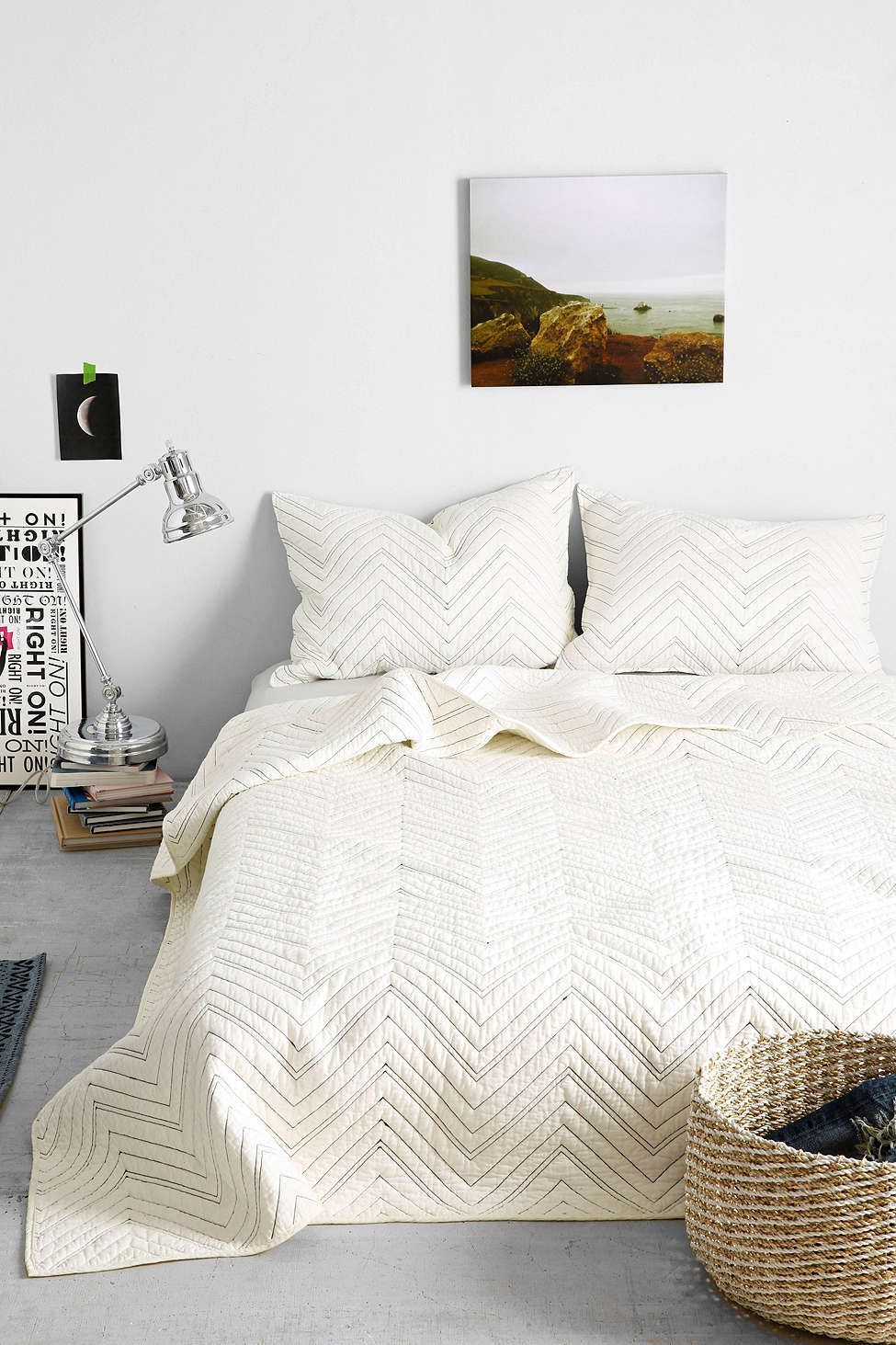 4040 Locust Chevron Quilt - Urban Outfitters, I love the simplicity of this and how color can be added with pillows or blanket, especially stuff of different textures.