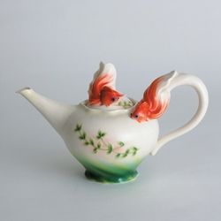 Franz Porcelain Whimsical Goldfish Porcelain Teapot
