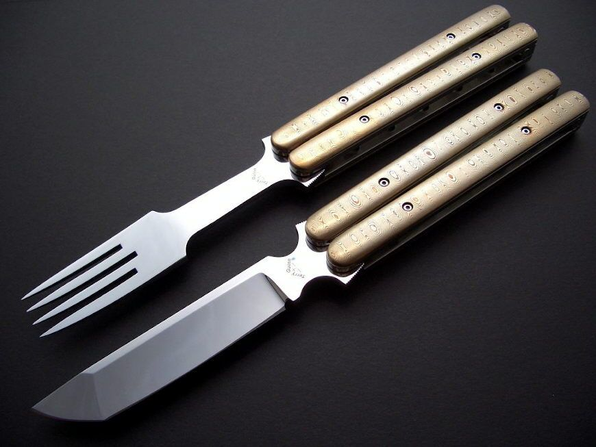 Knife and Fork Balisong Set with Mokume handle scales. Stunning.