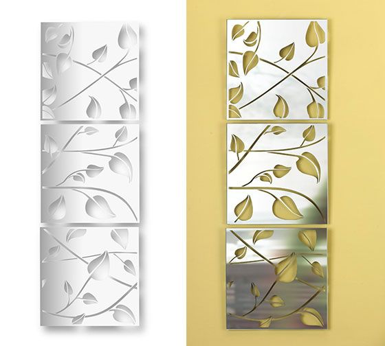 Mirror Square Wall Tiles Adhesive Reflections Patterned Dots