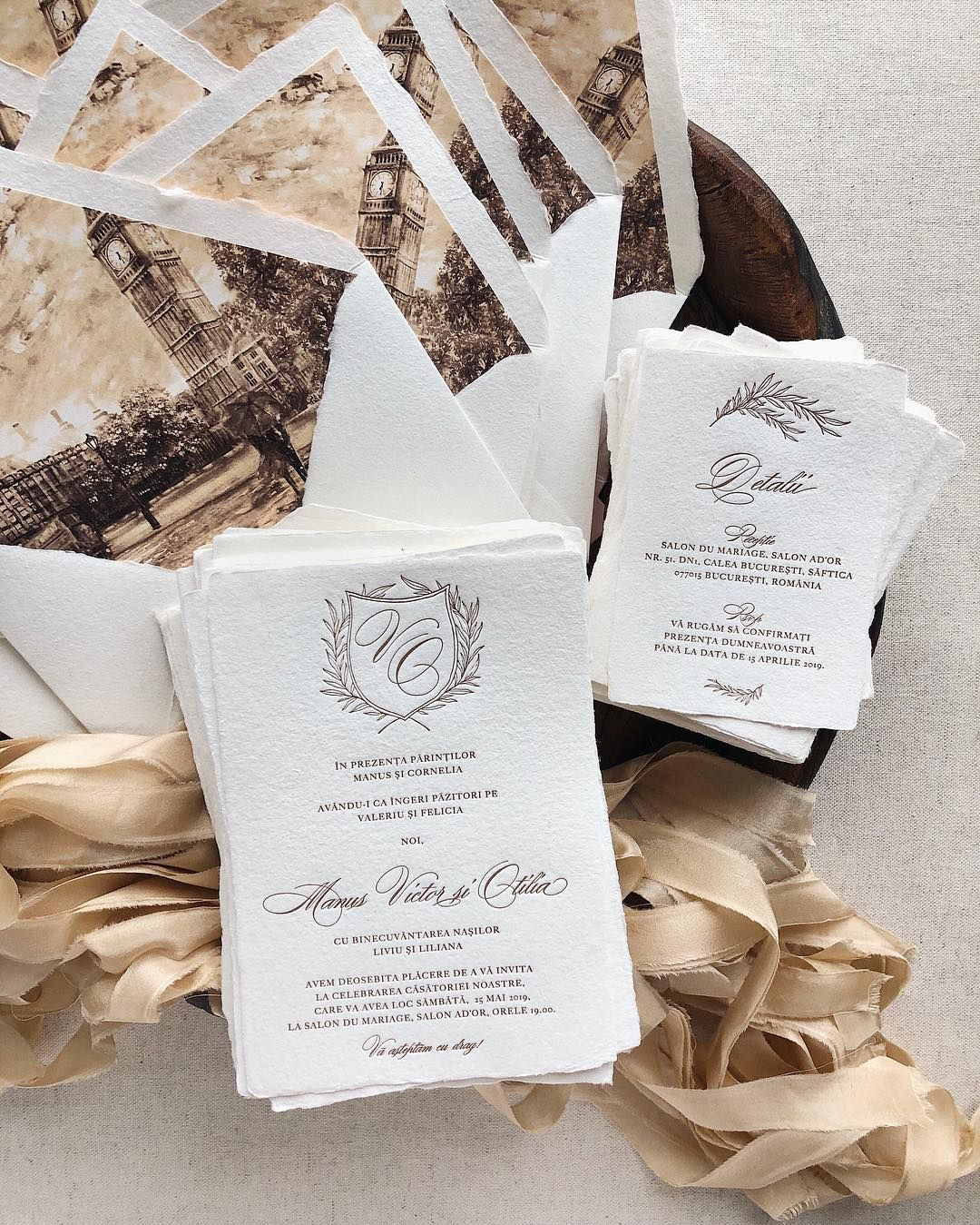 Letterpress Wedding Invitation On Handmade Paper With Envelopes With