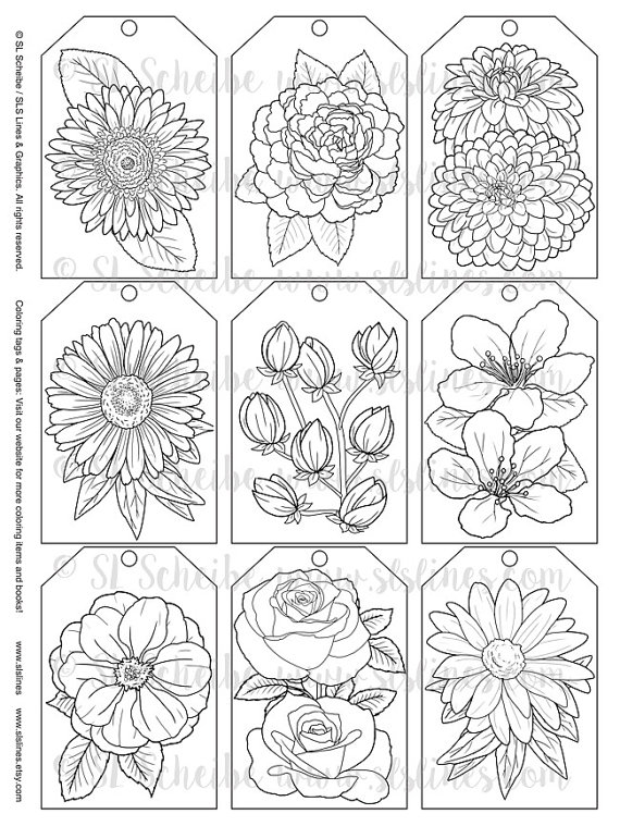 Printable Pdf Gift Tag Coloring With Flower Design Instant