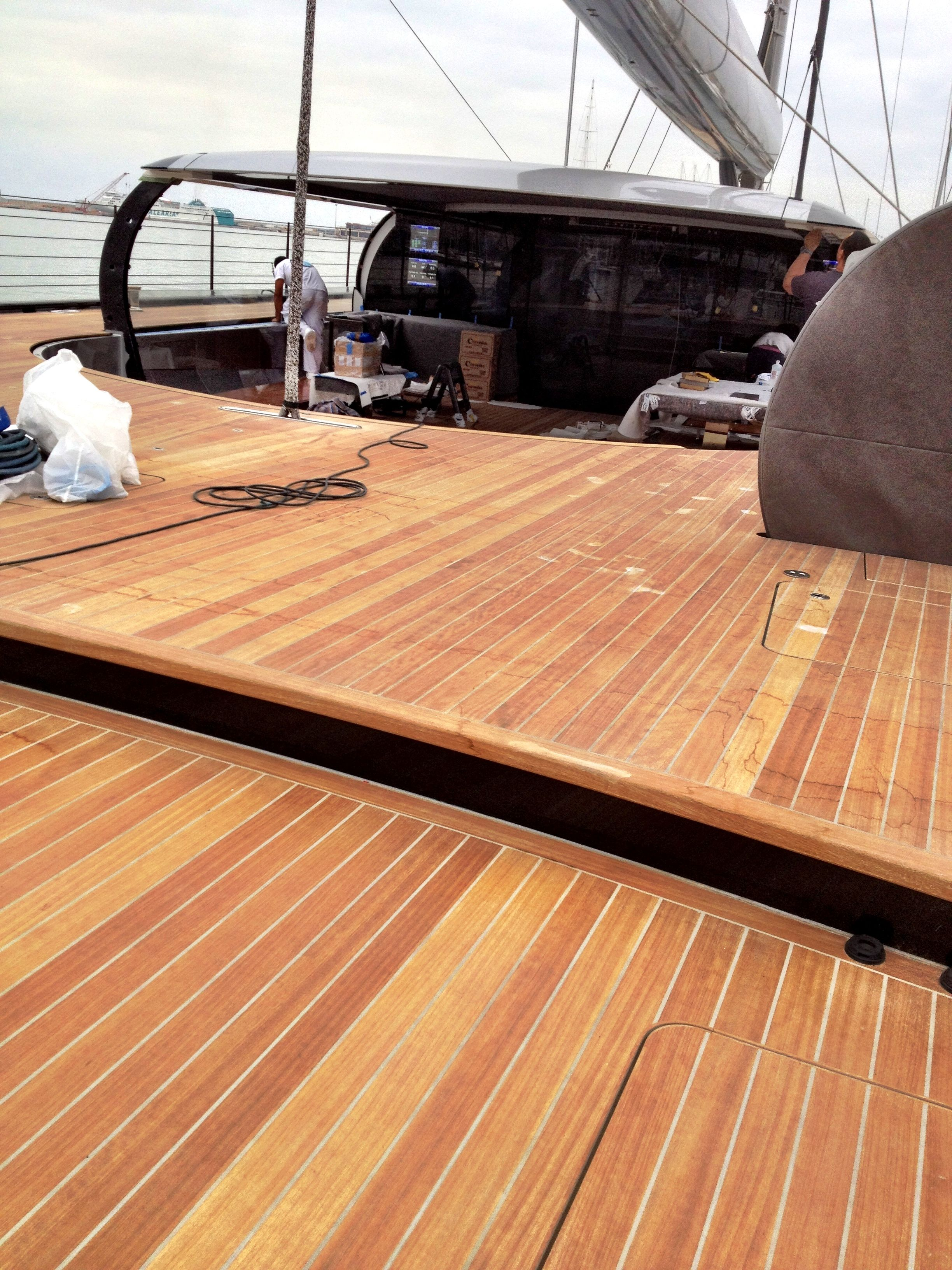 Aft deck on S/Y AGLAIA  the curiosities above this deck Is the material,it is not teak it's IROKO  http://Palmayachteye.com