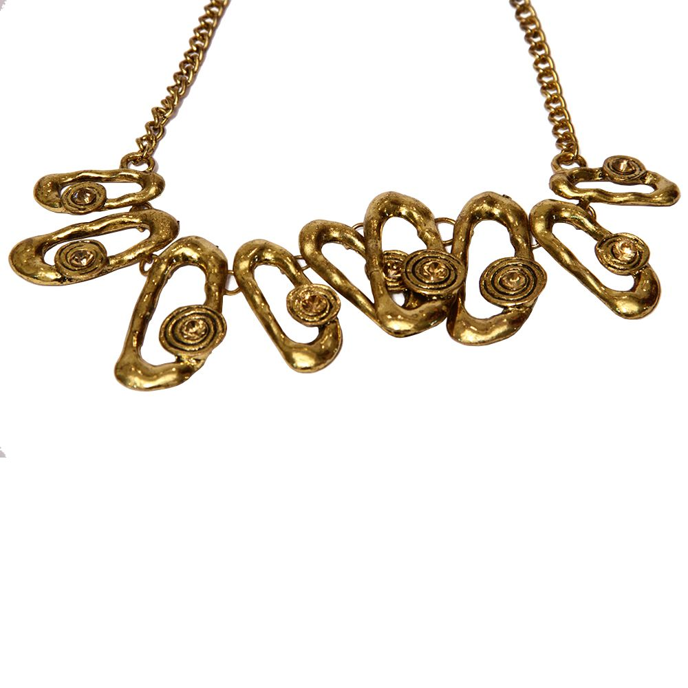 Maxi colar Elos ovais e strass champagne ouro velho http://goo.gl/pMCfKR
