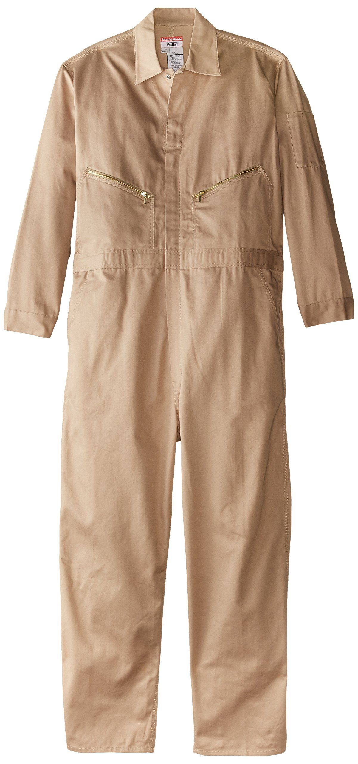 walls work men s long sleeve twill coverall khaki 38 on wall insulated coveralls for men id=18764