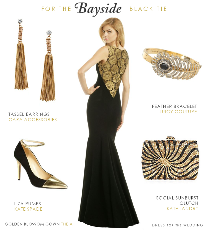 Black and Gold Gown for a Black Tie Wedding | Gold gown, Black tie ...