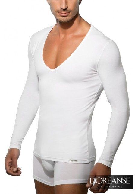 DA2920 - Sexy #DeepNeck Langarmshirt mit tiefem V-Ausschnitt #SlimFit. Auf doreanse-shop.com